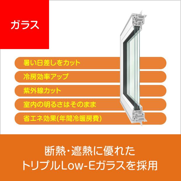 ガラス:断熱・遮熱に優れたトリプルLow-Eガラスを採用
